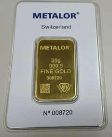 Gold ingot, 20 gr, Metalor Switzerland with certificate
