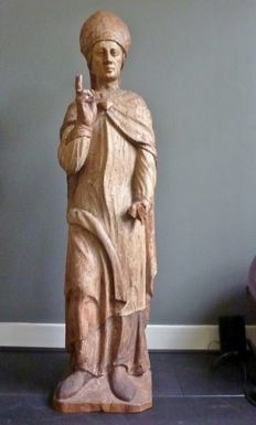 Late gothic lime-wood Bishop - presumably Maasland - approx. 1520