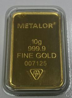 Gold ingot, 10 gr, Metalor Switzerland with certificate