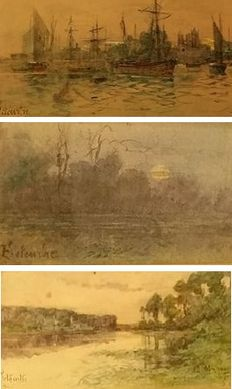 French school of the 19th c. - Sea- and landscapes (3 works)