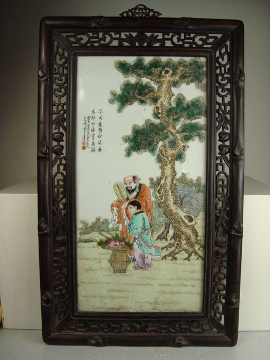 Porcelain plaque in hardwood frame - China - mid 20th century - Catawiki