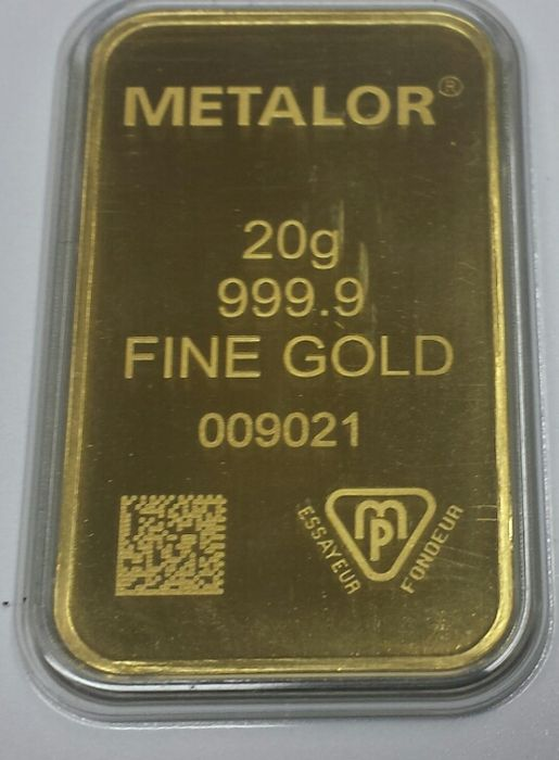 Gold bar, 20 grams, Metalor Switzerland with certificate