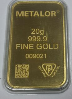 Gold bar, 20 grams, Metalor Switzerland incl. certificate