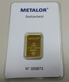 Gold ingot, 10 grams, Metalor Switzerland with certificate