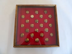 24 x British Regiments Brass Buttons Collection in a Glass Case. Most WW2. Second lot