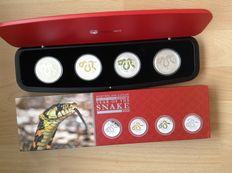 "Australia - dollars 2013 ""Year of the Snake"" (4 different) in set - 4 x 1 oz of silver"