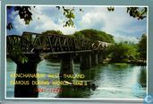 Deadt-rail way-bridge Crossing River Kwai Kanchana Buri Province Thailand. Postcards from the land of smile.