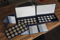 Europe – 5, 10 and 15 Euro coins 2007/2011 (52 pieces) in coffers – silver.