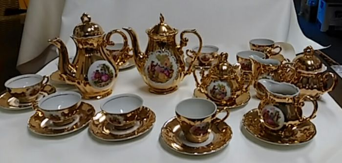 Bavaria - 22 k gold-plated coffee service 28-piece : bavaria gold plated tea set - pezcame.com