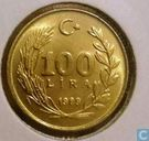 Turkey 100 lira 1989 (Fine hair - type 2)