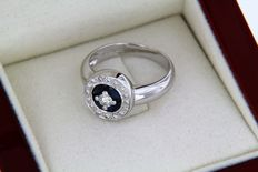 18 kt white gold ring + sapphires + diamonds - size 53