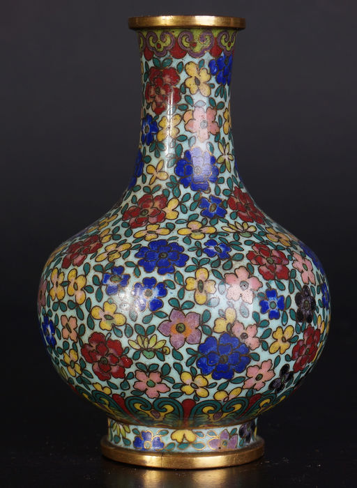 A Very Delicately Decorated Antique Chinese Cloisonn Enamel Vase