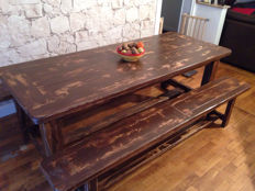 Table with its original benches in solid oak, from France, second half of the 20th century