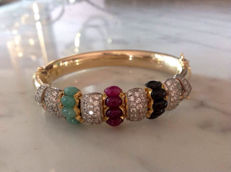 Bangle bracelet set with 5 rubies, 5 sapphires, 5 emeralds and 108 white sapphires