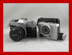 2 Canon cameras: the FTb QL from 1971 and the Canon Dial 35