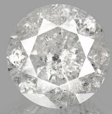 """*** NO RESERVE PRICE **** """" EXTREME BIG SIZE """" -  10.25 ct briljant geslepen diamant Natural Light Gray - Inclusions"""