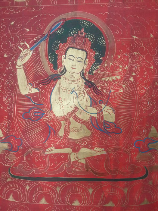 Antique Thangka - Tibet/Nepal, late 20th century.