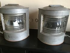 A pair of metal maritime lamps, port and starboard side, the Netherlands, first half of 20th century