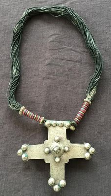 Impressive old Touareg necklace – silver and leather – North Africa