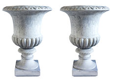 Two identical large classic concrete garden vases - 20th century