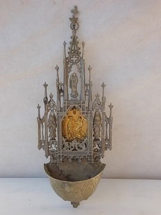Rare and precious holy water stoup in bronze and silver - mid 19th century