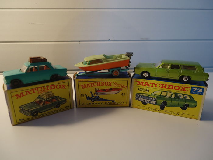 Matchbox - Scale ca 1/64 - Lot 3 vehicles: FIAT 1500 Sedan - No.56b, Trailer with speedboat - No.48b & Mercury Commuter - No.73c
