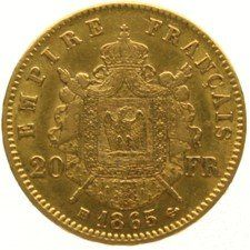 France – 20 Francs 1865 BB Napoleon III – gold