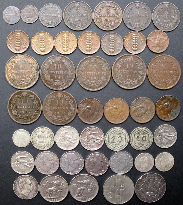 Italy - Centesimo to 2 Lire 1861/1943 (44 different) a.o. 4x silver