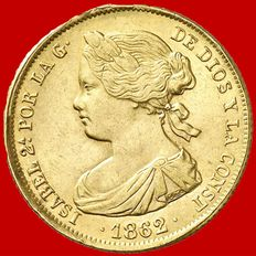 Spain – Isabel II (1833-1868), 100 reals gold coin – 1862 – Seville