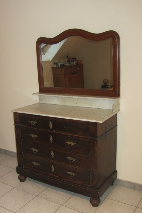 ancienne commode avec miroir montures originales et marbre catawiki. Black Bedroom Furniture Sets. Home Design Ideas