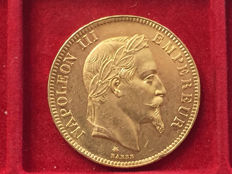France – 100 Francs 'Napoleon III' 1869- In Paris (head with laurel wreath) – Gold