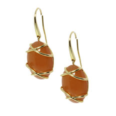 Elaine Firenze - 14 kt Gold dangle earrings with Orange moonstone, length 30.0 mm