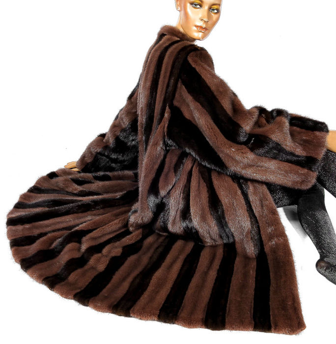 Luxurious mink fur coat, striped swinger, wide hem, colourful