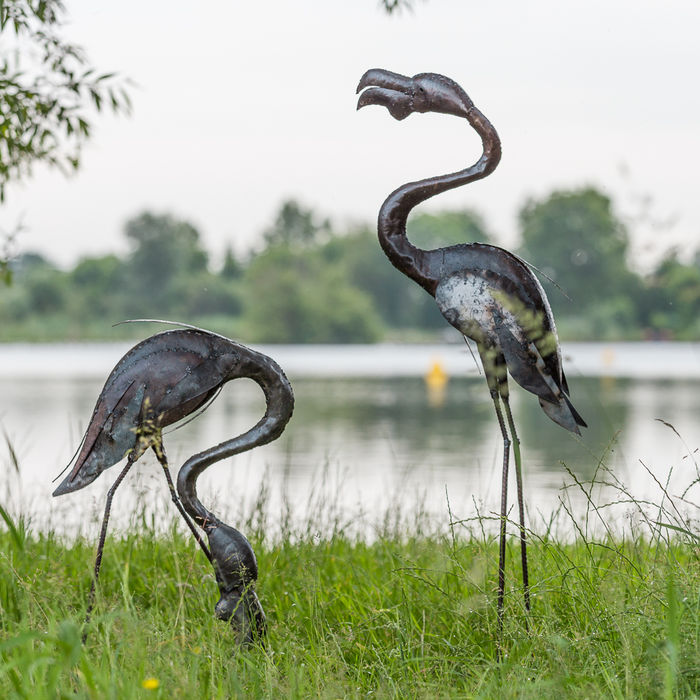 Two large flamingo sculptures of metal - Zimbabwe