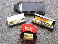3x new Hohner Harmonica with case; 1x Weekender, 1x 21 DeLuxe Tremolo, 1x Double Puck and harmonica belt for 7 harmonicas.