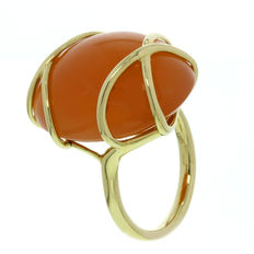 Elaine Firenze - Gold women's ring with Orange Moonstone - ring size 17.25