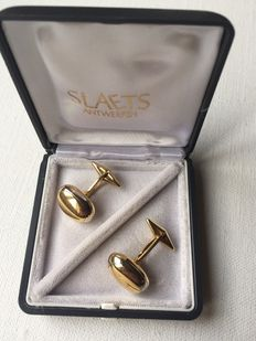 18 K yellow gold solid vintage heavy cuff links, 14.6 grams