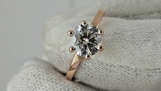 1.05 ct VS2 round diamond ring 14 kt rose gold / size 5,5