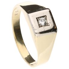 Bi-colour gold men's ring set with 1 brilliant cut diamond of approx. 0.08 ct