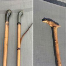 Three carved wooden walking sticks (with handle in horn one with bird-ca. 1920