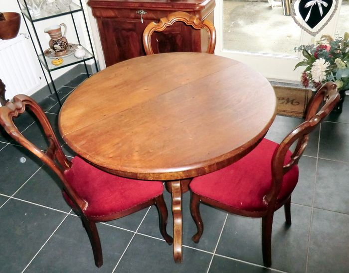 biedermeier mahogany dining table with 3 balloon chairs holland