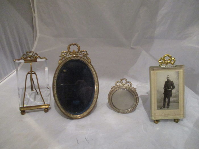 4 French bow photo frames with cut glass - late 19th, early 20th century-France