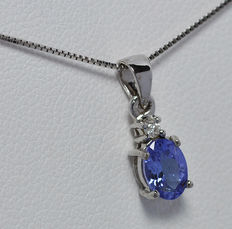 18K gold Pendant with Tanzanite , chain length 45 cm