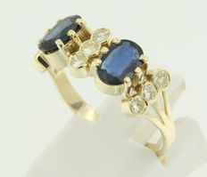 14 kt yellow gold ring set with sapphires and diamond, ring size 18.25 (57)
