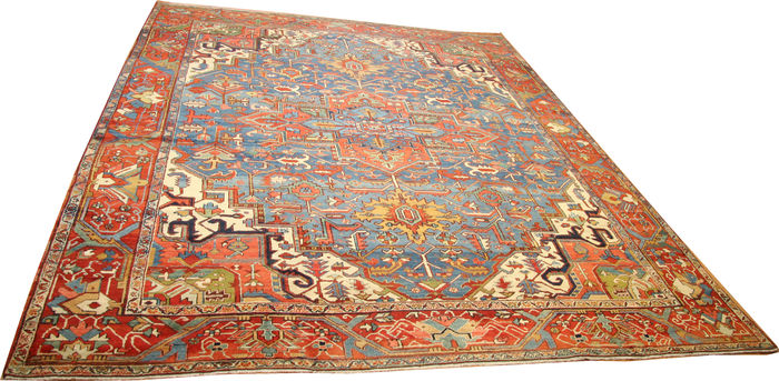 grand tapis persan heriz antique rare bleu et rouge taille de 420 x 350 cm 13 39 8 x 11 39 5. Black Bedroom Furniture Sets. Home Design Ideas