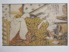 Oriental erotica; Katsakuwa Suncho - Shunga: Older man takes his younger woman on table - 1780/1795