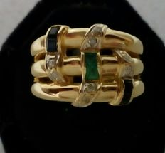 Yellow and white gold ring with 8 diamonds, 4 sapphires and 2 emeralds