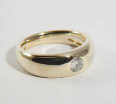 14k / 585 Men Solitaire Ring with Diamond of 0,5 Ct RS 61 / 19,4mm ∅ /US 9,5