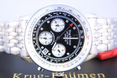 Krug-Baumen Air Traveller 'Steel Black Diamond' -- Herenpolshorloge