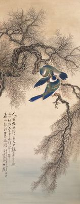 Old and very detailed scroll painting of Birds in tree (61,5 x 201! cm) signed Himejima Chikugai (1840-1928) - Japan - ca. 1900-1910